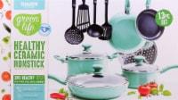 GreenLife Diamond Ceramic Non-Stick Cookware Set - Black / Turquoise