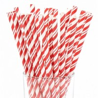 Creative Converting Red & White Striped Paper Straws, Red