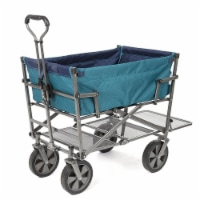 Mac Sports Double Decker Collapsible Outdoor Cart Utility Garden Wagon, Teal - 1 Unit