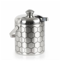 Stainless Steel Ice Bucket With Ice Molecule Pattern   Includes Set Of Ice Tongs