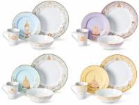 Disney Princess 16-Piece Dinnerware Set | Cinderella, Jasmine, Ariel, Belle
