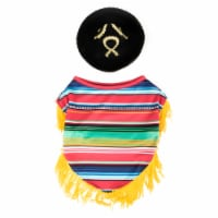 Simply Dog Extra Small-Small Poncho & Sombrero Pet Costume