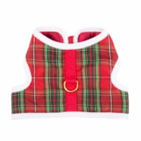 Simply Dog Mission Pets Plaid Fuzzy Trim Wrap Harness - Red