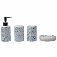 Trendy Terrazzo 4 Piece Ceramic Bath Accessory Set, Blue - 1 Unit
