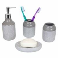Crackle 4 Piece Ceramic Bath Accessory Set, Grey - 1 Unit