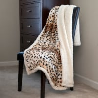 Animal Print Throw Warm Sherpa Backing Fuzzy Soft Cozy Giraffe Leopard Tiger Couch Chair Bed - 1 unit