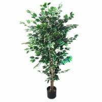 5 Foot Pure Garden Ficus Artificial Tree Indoor Outdoor Plant in Pot