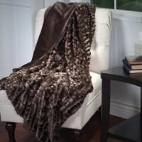 Lavish Home Plush Croc Embossed Faux Fur Mink Throw - Brown - 1 unit