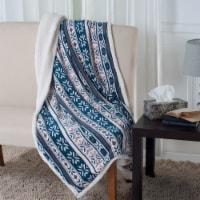 Lavish Home Fleece Sherpa Blanket Throw - Snowflakes