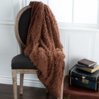 Lavish Home Solid Soft Plush Sherpa Fleece Throw Blanket - Coffee
