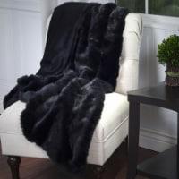 Lavish Home Luxury Long Haired Faux Fur Throw - Black
