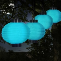 Pure Garden 50-19-B Outdoor Solar LED Chinese Lanterns, Blue - Set of 4