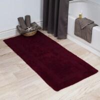 Lavish Home 100% Cotton Reversible Long Bath Rug - Burgundy - 24x60 - 1 unit
