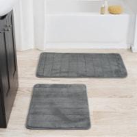 Lavish Home 2 Piece Memory Foam Striped Bath Mat Set - Platinum - 1 unit