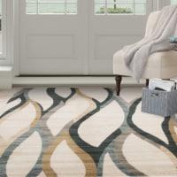 Lavish Home Opus Contemporary Curves Area Rug - Cream - Rug 8'x10'