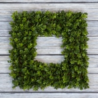 Pure Garden Square Boxwood Wreath - 16.5 inch x 16.5 inch Artificial Indoor Outdoor Floral