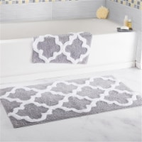 Lavish Home 100% Cotton 2 Piece Trellis Bathroom Mat Set - Silver - 1 unit