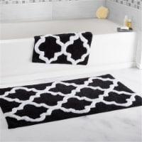 Lavish Home 100% Cotton 2 Piece Trellis Bathroom Mat Set - Black - 1 unit