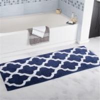 Lavish Home 100% Cotton Trellis Bathroom Mat - 24x60 inches - Navy - 1 unit
