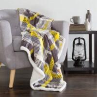 Lavish Home Fleece Sherpa Blanket Throw - Plaid Yellow/Grey