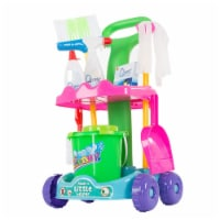 Hey Play 80-PP-1350568 Pretend Play Cleaning Set with Caddy on Wheels - 1