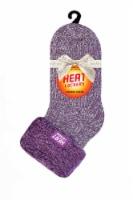 Heat Lockers Womens Twist Cozy Slipper Sock - Lilac Mauve/Cream - 1 ct