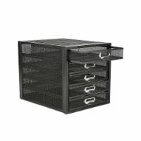 Mind Reader 5 Drawer Metal Mesh Storage Cabine - Black