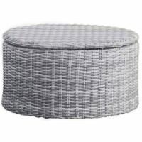 Elle Decor Vallauris Wicker Patio Storage Coffee Table in Gray - 1