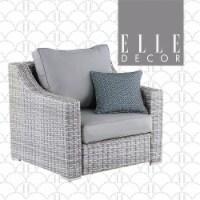 Elle Decor Vallauris Wicker Patio Arm Chair in Gray - 1