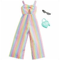 Barbie Clothes: Rainbow-Striped Jumpsuit, Plus 2 Accessories Dolls, Style A