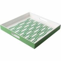 Surya MNO-001 Monico Tray - Grass Green & White - 15.7 x 15.7 x 2 in.