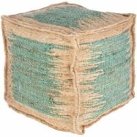 Surya SNPF003-161616 16 x 16 x 16 in. Sonali Removable Cover Pouf, Teal & Khaki - 1
