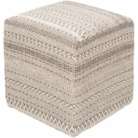 Surya LFPF001-161618 16 x 16 x 18 in. Leif Woven Pouf, Taupe & Ivory