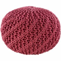 Surya MLPF011-202014 20 x 20 x 14 in. Malmo Knitted Pouf, Bright Pink - 1