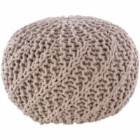Surya MLPF013-202014 20 x 20 x 14 in. Malmo Knitted Pouf, Ivory - 1