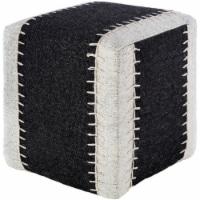 Surya NKPF001-161618 16 x 16 x 18 in. Niko Removable Cover Pouf, Black, White & Ivory