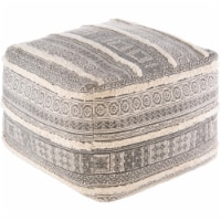 Surya BSPF001-202014 20 x 20 x 14 in. Busan Hand Woven Pouf, Beige, Charcoal & Khaki - 1
