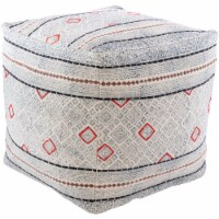 Surya ZYPF001-181818 18 x 18 x 18 in. Zoya Removable Cover Pouf - 100 Percent Cotton