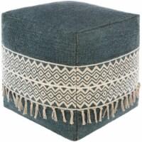 Surya TNPF001-181818 18 x 18 x 18 in. Tanya Removable Cover Pouf, Bright Blue & Cream - 1