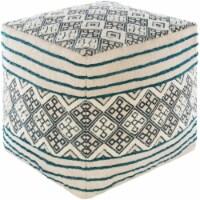 Surya TNPF002-181818 18 x 18 x 18 in. Tanya Removable Cover Pouf, Sky Blue, Cream & Bright Bl