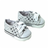 Sophia's by Teamson Kids Silver Sequin Sneaker Shoes with Laces for 18  Dolls - 1