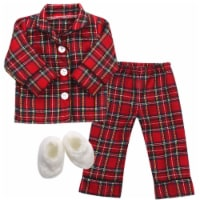 Sophia's by Teamson Kids Red Flannel Pajamas and Slippers Set for 18  Dolls - 1