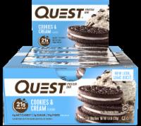 Quest Cookies & Cream Flavor Protein Bars 12 Count