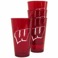 Boelter 8886074850 Wisconsin Badgers Plastic Pint Clear Glass - 16 oz - Pack of 4