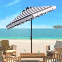 Maui Single Scallop Striped 9 Ft Crank Push Button Tilt Umbrella Grey / White - 1 unit
