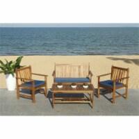 Safavieh Burbank 4 Piece Patio Sofa Set in Teak Brown and Navy