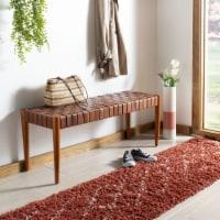 Amalia Leather Weave Bench Cognac / Dark Brown - 1 unit