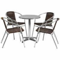 23.5'' Round Aluminum Table Set with 4 Dark Brown Rattan Chairs - TLH-ALUM-24RD-020CHR4-GG - 1