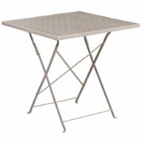 Flash Furniture 28  Square Steel Flower Print Patio Dining Table in Silver - 1