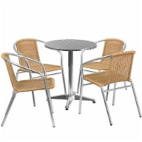 23.5'' Round Aluminum Table Set with 4 Beige Rattan Chairs - TLH-ALUM-24RD-020BGECHR4-GG - 1